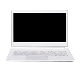 Silver portable ultra thin laptop. Isolated. Front view.