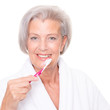 Senior woman with toothbrush