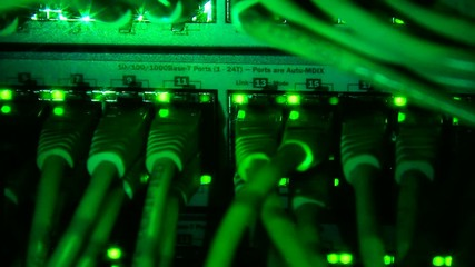 Network server working with blinking lights.