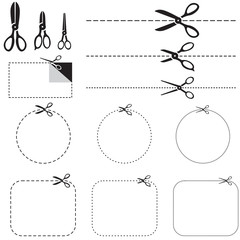 Set of images with scissors
