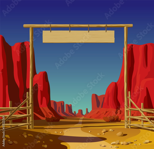 Farm gate in the Wild West