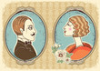 Vintage gentleman and woman face portraits.Vector illustration