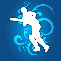 Illustration of a cricket batsman in playing action on abstract