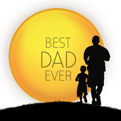 Happy Fathers Day concept with silhouette of father and his son