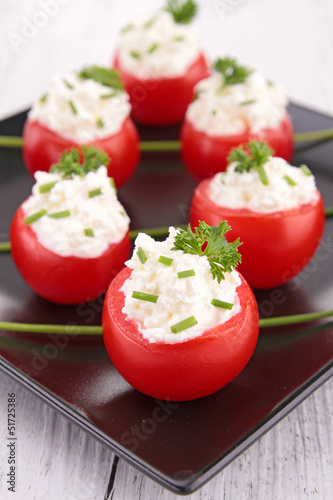 appetizer, stuffed tomato with cheese