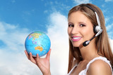 receptionist with headphones and globe