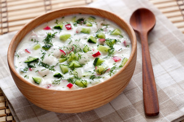 Cold soup with vegetables and dill