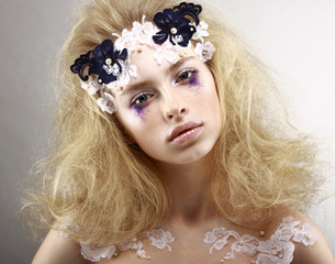 Styled Blonde with Colorful Makeup - Blue Eye Shadows. Arts