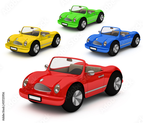 3d-rendering of colorful cars
