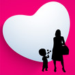 Happy Mothers Day background with silhouette of a mother and her