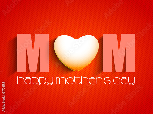 Happy Mothers Day concept with text MOM on red background.