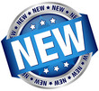"""Button Banner """"NEW"""" Blue/Silver"""