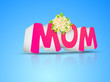 Abstract Happy Mothers Day concept with 3D pink text MOM on blue
