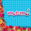 Happy Mothers Day background with text MOM on abstract blue back