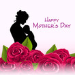 Silhouette of a mother with her child or roses background with t