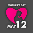 Silhouette of a mother with her child in pink heart with text Ma