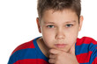 Closeup portrait of a pensive young boy