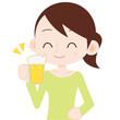 女性 上半身 ビールを飲む