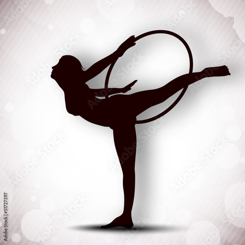 Illustration of rhythmic gymnastic girl on grungy grey backgroun