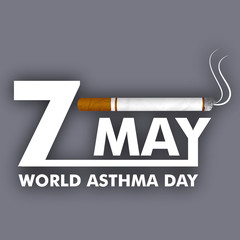 World asthma day background with cigarette Illustration of no sm