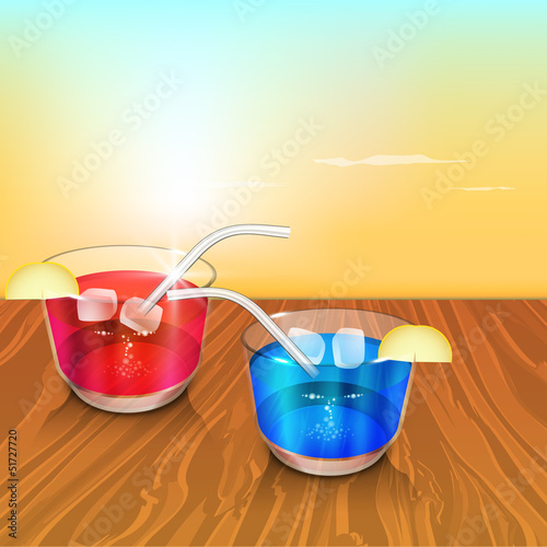 Evening summer background with cold drinks.