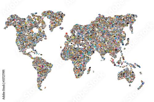 Carte du monde photos, fond blanc