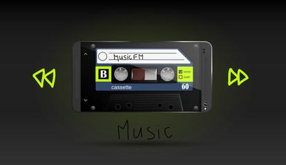 Cassette vector music retro smartphone