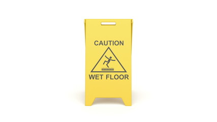 Wet floor sign, rotates on white background