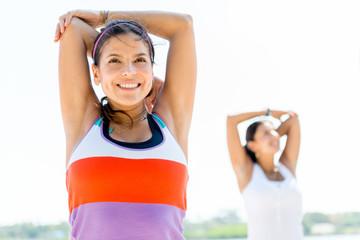 Women doing stretching exercises