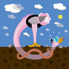 Ostrich and worm in love.