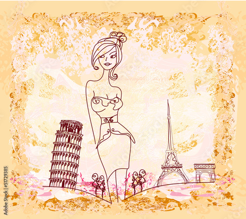 Tuinposter Doodle beautiful women Shopping in France and Italy