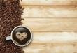 Obrazy na płótnie, fototapety, zdjęcia, fotoobrazy drukowane : Kaffee mit Herz auf Holz