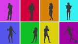 Animation of silhouettes of various people in colourful grid
