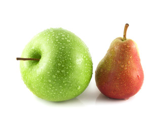 Ripe red pear with green apple on white
