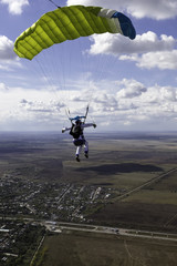 Skydiver piloting his parachute.