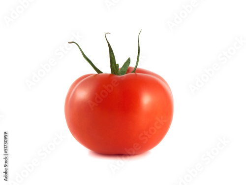 Isolated red ripe tomato on a white background