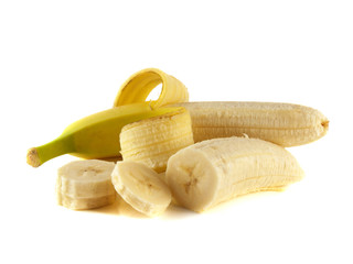 Two opened bananas with slices isolated on white