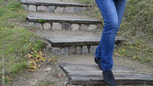 retro wooden stone stair nature park woman leg walk downstair