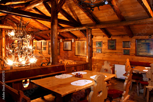 Restaurant wooden interior