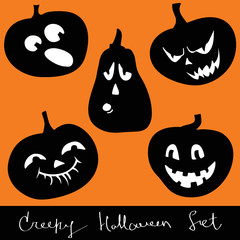 Halloween pumpkins - decorative silhouettes set
