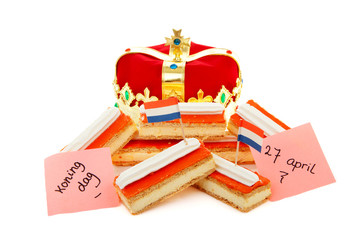 Typical Dutch tompouce sweet with crown