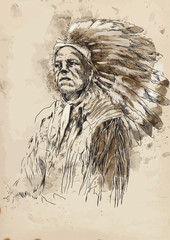 Portrait of an Indian chief - Hand drawing into vector