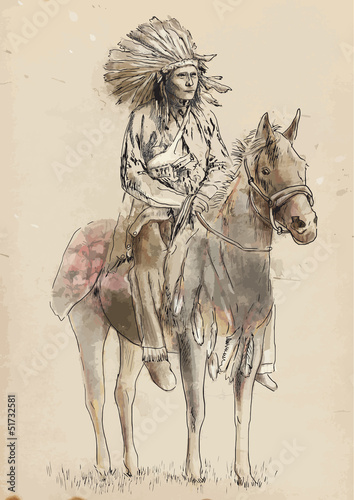 Indian chief sitting on a horse - Hand drawing into vector