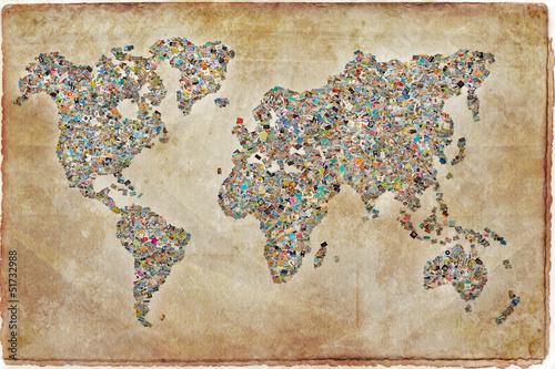 Mapa Świata zdjęcia, zabytkowe tekstury