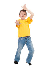 boy in yellow t-shirt isolated