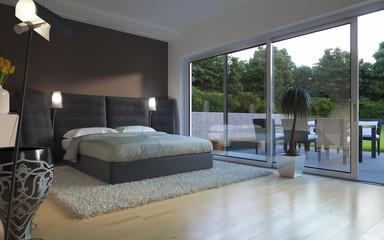 schlafzimmer mit blick in garten - gardensite bedroom