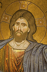 Palermo - Mosaic of Jesus Christ from Monreale cathedral.
