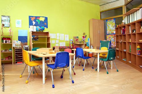 Poster, Tablou Kindergarten Preschool Classroom Interior
