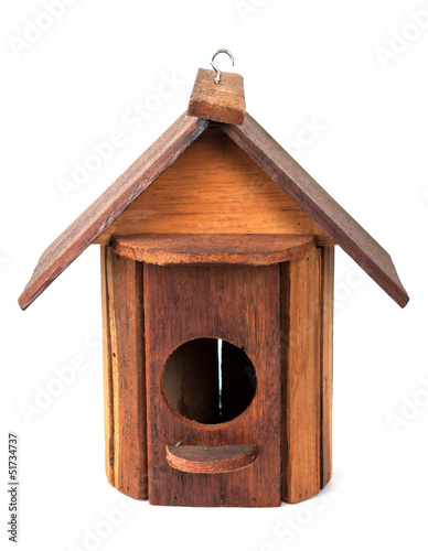 Wooden birdhouse isolated on white background