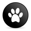 animal footprint black circle web glossy icon